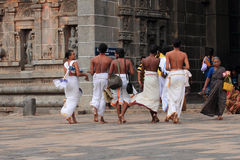 Brahmin priests enter the Nataraja temple Royalty Free Stock Photos