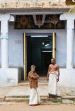 Brahmins in front of hindu temple Royalty Free Stock Photos
