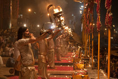 Brahmins at the Night Puja. Ghats at the holy river of Ganga in Varanasi, Uttar Pradesh, India Royalty Free Stock Images