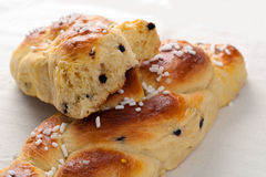 Braid Brioches. With sugar and chocolate chips Stock Photography