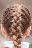 Braid. Cloes up of a Braid Hairstyle Stock Photo