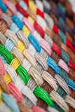Braid of colourful threads. A braid of colourful sewing threads, side view. Macro photography Stock Photography