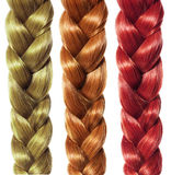 Braid hair, three colored plaits isolated, hair care royalty free stock photos