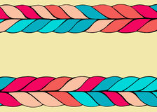 Braid hair vector pattern on yellow background. Colorful braid hair vector pattern background, place for text royalty free illustration