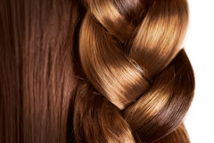 Braid Hairstyle. Brown Long Hair close up. Healthy Hair Royalty Free Stock Photography