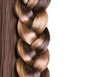 Braid Hairstyle. Brown Long Hair close up. Healthy Hair Stock Image