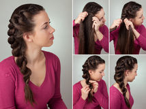 Braid hairstyle tutorial Stock Photography