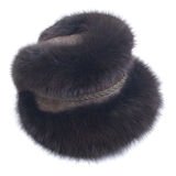 Braid Hat of natural fur fox Stock Photography