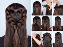 Braid heart hairstyle tutorial royalty free stock image