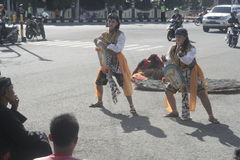 Braid horse dance performances in the Road Stock Image