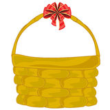 Braided basket with bow Royalty Free Stock Photos