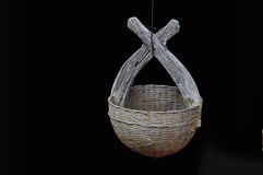 Braided basket to bail out the water. Vintage photo of Empty basket Royalty Free Stock Photography