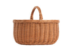 Braided basket with wooden handles Stock Photo