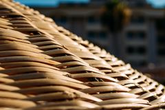 Braided beach umbrella stock photos