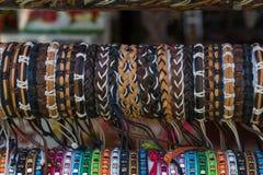 Braided bracelets. Background Stock Photo
