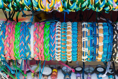 Braided bracelets. Background Stock Photos