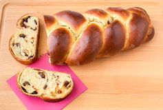 Braided bread with fruits and nuts. Royalty Free Stock Photography