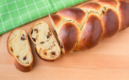 Braided bread with fruits and nuts. Stock Photo
