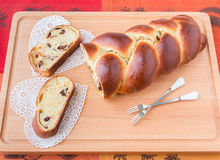 Braided bread with fruits and nuts. Stock Photography