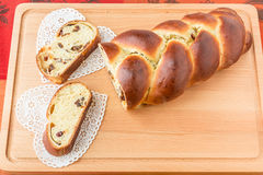 Braided bread with fruits and nuts. Stock Photos