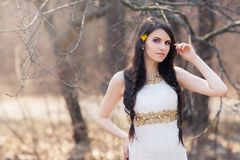 Braided bride at forest on wedding photoshoot. Braided bride at forest in white dress on blurred autumn background during a wedding photo shoot. Young beautiful Stock Image