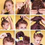 Braided bun updo tutorial stock images