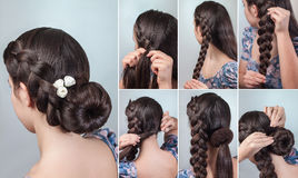 Braided bun updo tutorial royalty free stock photo