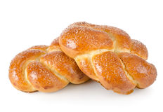Braided buns. Isolated on a white background royalty free stock photography