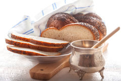 Braided Challah bread and honey Stock Photography