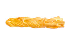 Braided chechil cheese on a light background Stock Photo