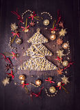 Braided Christmas tree and bell dekorations Stock Image