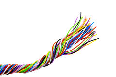 The braided color computer cable Royalty Free Stock Image