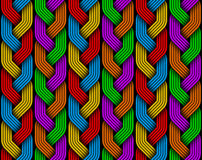 Braided colored pigtails fiber seamless pattern. Vector illustra Royalty Free Stock Photo