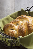 Braided Dried Fruit and Nut Bread in Basket Stock Photo
