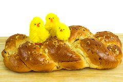 Braided easter yeast bun Royalty Free Stock Photos