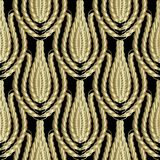 Braided gold 3d ropes seamless patterm. Vintage ornamental abstr. Act background. Damask ornament with abstract golden ropes, swirls, lines. Surface texture. For stock illustration