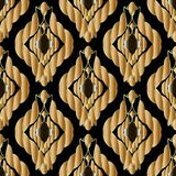 Braided gold 3d ropes seamless patterm. Vintage textured abstrac. T vector background. Damask ornament with golden ropes, swirls, lines. Surface texture. For vector illustration