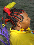 Braided Hair Artistry. Photo of black woman with beautifully braided hair at the smithsonian folklife festival on the mall in washington dc on 7/10/11. In royalty free stock photography