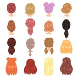 Braided hair vector woman hairstyle with french braid or ponytail illustration hairdressing or haircutting with. Coloration isolated on white background stock illustration