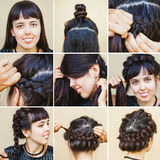 Braided hairdo from beauty blogger royalty free stock photography