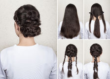 Braided hairdo tutorial Stock Photography