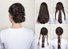Braided hairdo tutorial Stock Photography