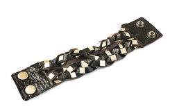 Braided leather and metal bracelet isolated royalty free stock photos
