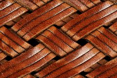 Braided Leather Texture. A close-up of brown braided natural leather texture Royalty Free Stock Photos
