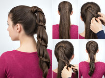 Braided pony tail hairstyle tutorial royalty free stock photo