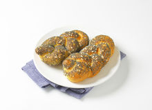 Braided poppy seed bread rolls Royalty Free Stock Images