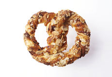 Braided Puff pastrie with almonds Royalty Free Stock Photo