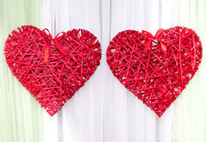 Braided red heart as a wedding decoration Royalty Free Stock Images