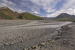 Braided River Coming out of the Hills Royalty Free Stock Image