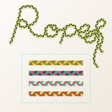 Braided rope pattern  seamless for decoration design. Rope brush for illustrator. Easy to use and modify. Stock Image